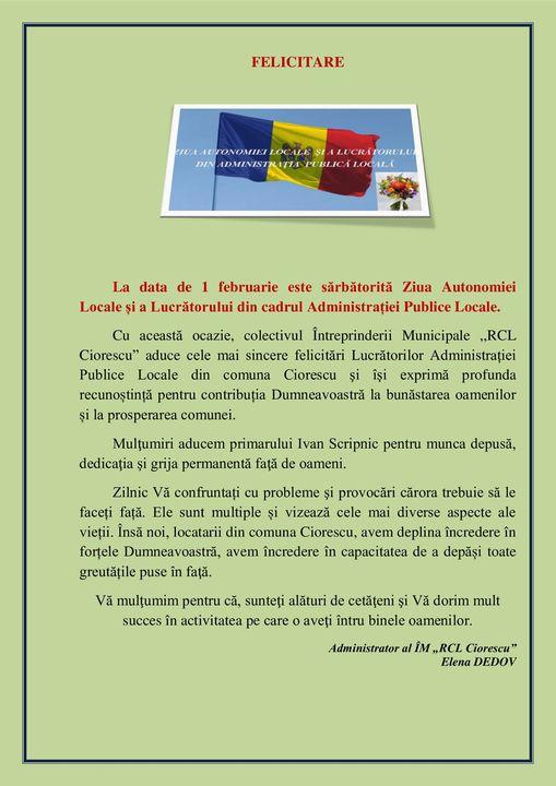 Felicitări Administrației Publice Locale