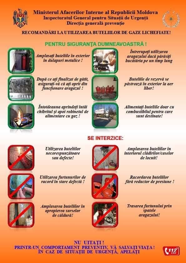 Recomandări la utilizarea buteliilor de gaze lichifiante