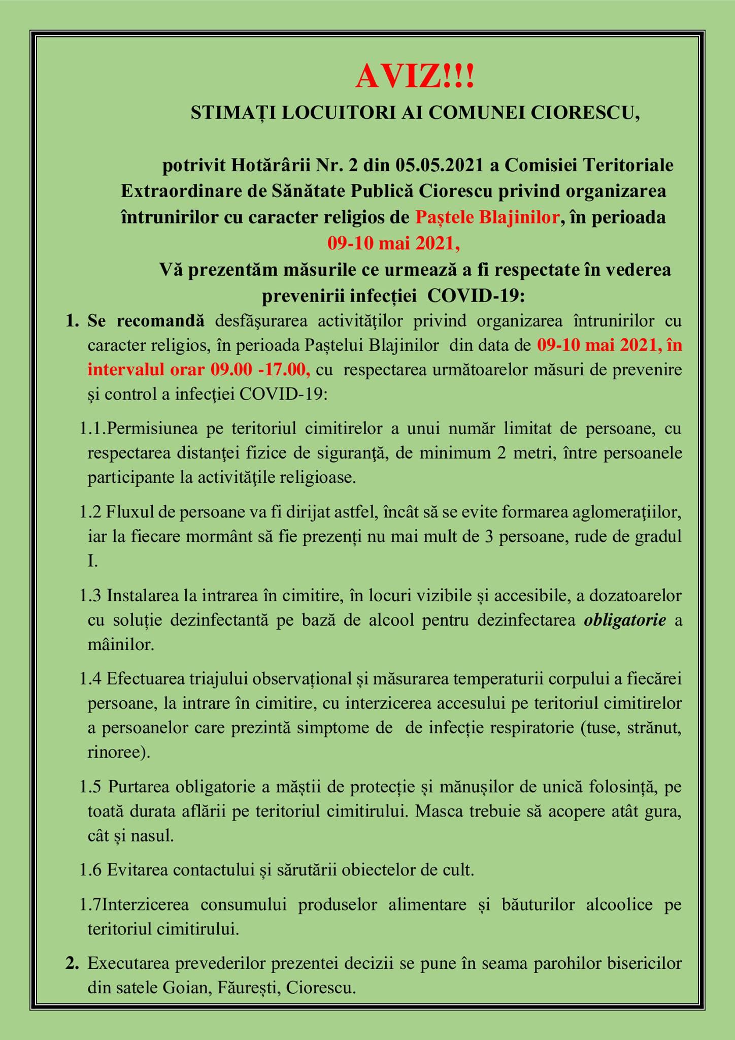 Vă prezentăm măsurile ce urmează a fi respectate în vederea prevenirii infecției Covid-19