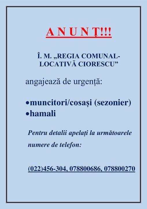 Regia Comunal-Locativă Ciorescu angajează