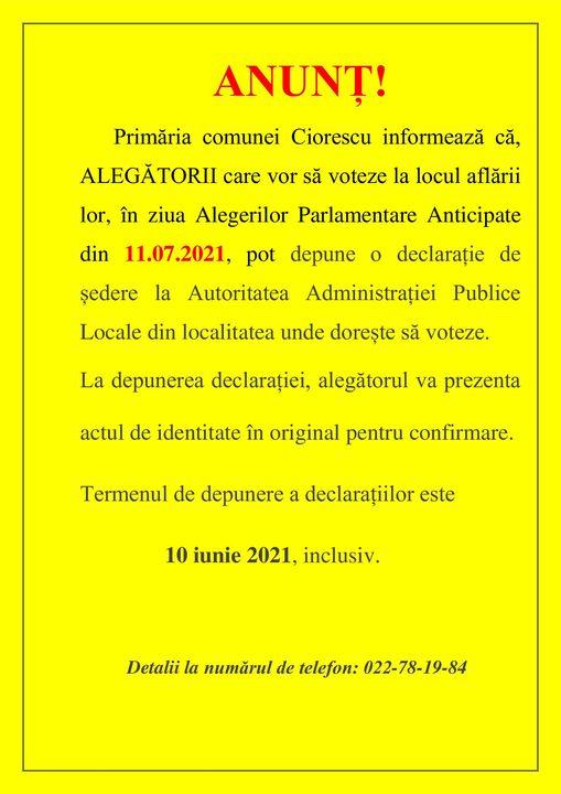 Anunț referitor de Alegerile Parlamentare Anticipate din 11.07.2021