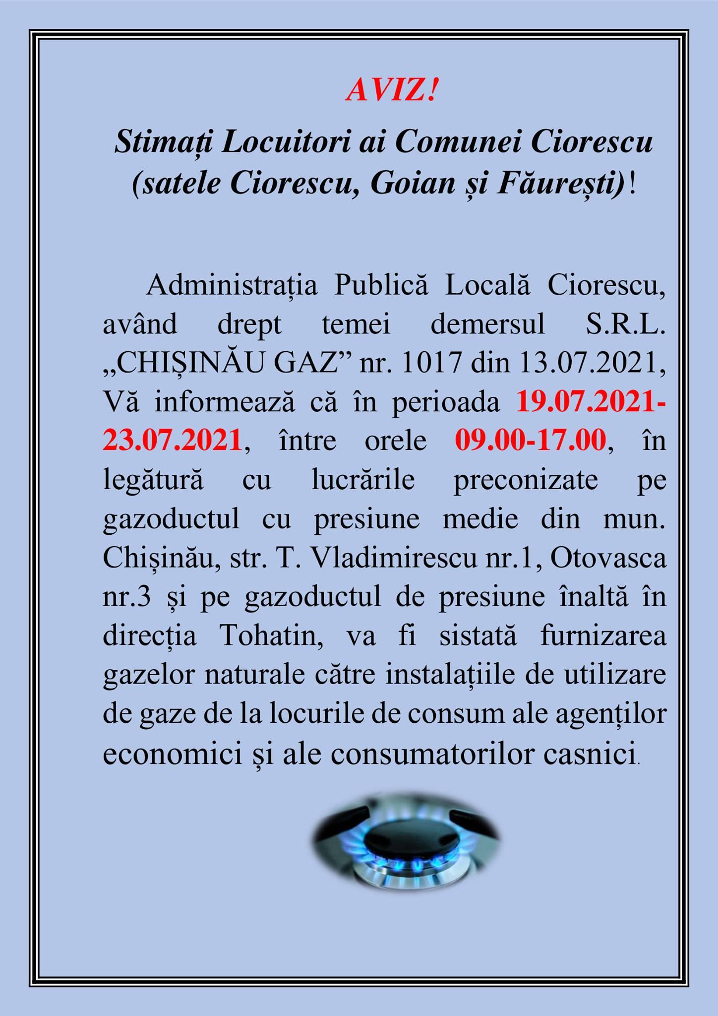 Administrația Publică Locală Ciorescu Vă informează
